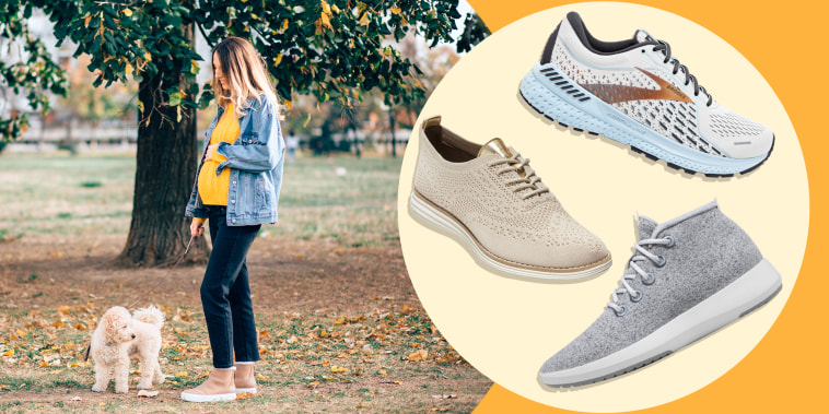 Illustration of a pregnant Woman walking her dog, Allbirds, Brooks Adrenaline GTS 21and Cole Haan Oxford Sneakers