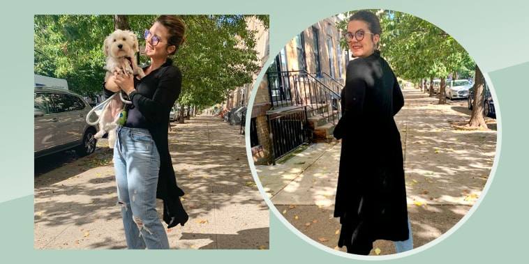Two images of Writer Casey DelBasso wearing the POGTMM Open-Front Drape Lightweight Dusterin black