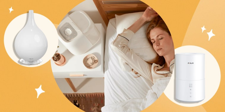 Illustration of a Objecto H3 Hybrid Humidifier and a MiLin Humidifier, and a Woman sleeping next to a Get Canopy humidifier