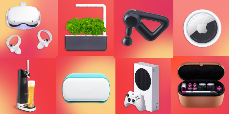 Illustration of a Click and Grow, Oculus Quest 2, Apple AirTag, FIZZICS DraftPour Beer Dispenser, Massage Gun, Cricut Joy, Dyson Airwrap and Xbox Series S Console