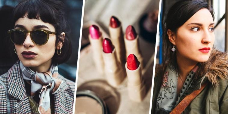 Three image of 2 Woman wearing lipstick and a lifestyle of lipstick