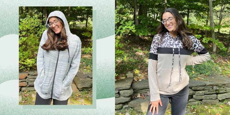 Writer Jillian Ortiz wearing two different hoodie sweaters from Amazon