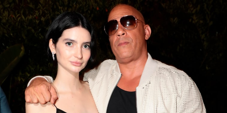 """Meadow Walker and Vin Diesel pose for a photo after the premiere of \""""F9\"""" at the Hollywood Roosevelt in Hollywood, Calif. on June 18, 2021."""