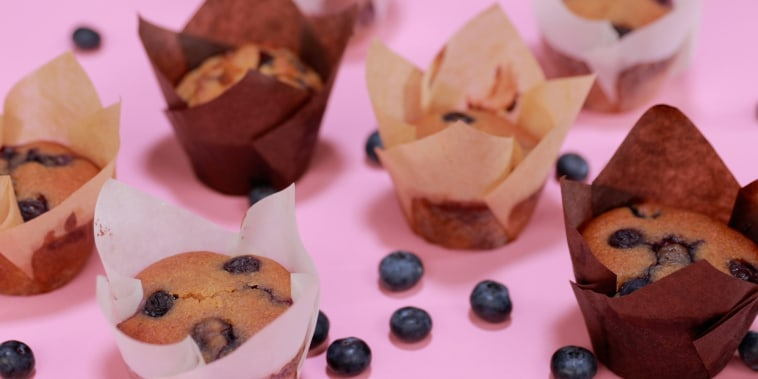 Plump berries, a bit of honey and swirl of almond butter make these muffins irresistible.