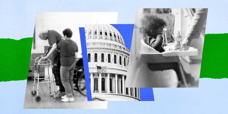 Illustration of an elderly man being helped by an aide, with a photo of the Capitol in Washington, and a photo of a mothers hands helping her toddler.