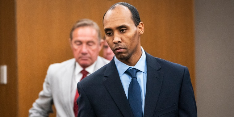 Former Minneapolis police officer Mohamed Noor walks to the podium to be sentenced at Hennepin County District Court in Minneapolis on June 7, 2019.