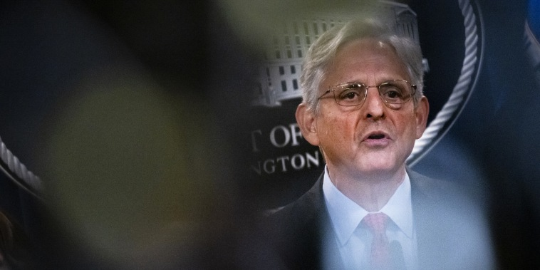 Attorney General Merrick Garland speaks at the Department of Justice in Washington on Sept. 9, 2021.