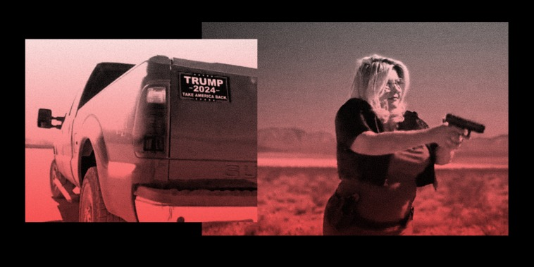 """Images: A sticker on the back of a truck reads,\"""" Trump 2024. Take America Back\"""" and a woman holding a gun."""