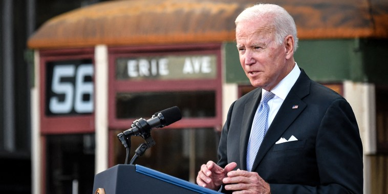 Image: President Joe Biden speaks after touring the Electric City Trolley Museum as he promotes the Bipartisan Infrastructure Deal and Build Back Better in Scranton, Pa., on Oct. 20, 2021.