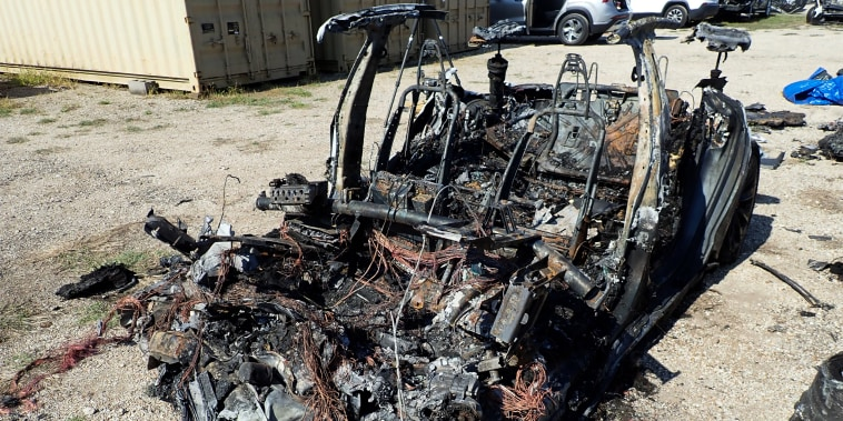 The remains of a Tesla Model S that crashed in Spring, Texas, on April 17, 2021.