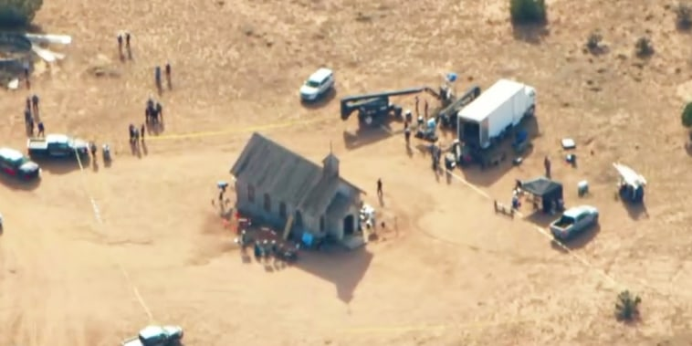 Image: Aerial footage shows an old church that appeared to be blocked off at the scene.