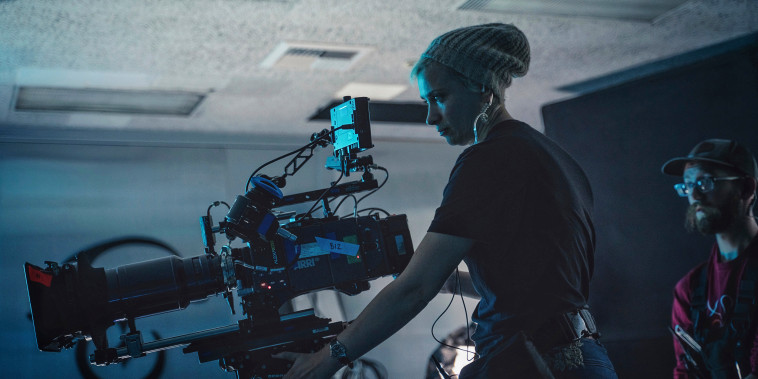 """Director of photography Halyna Hutchins on the set of \""""Archenemy\"""" on Dec. 17, 2019, in Los Angeles."""