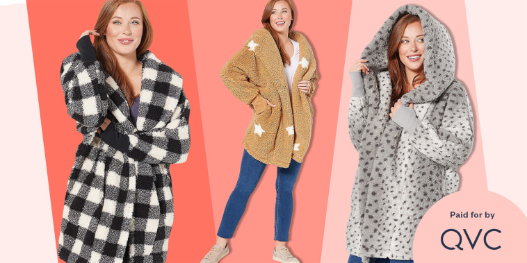 Woman wearing a stylish Sherpa jacket in three different styles and colors