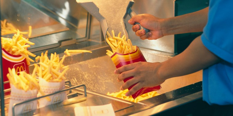Serving French Fries at McDonald's