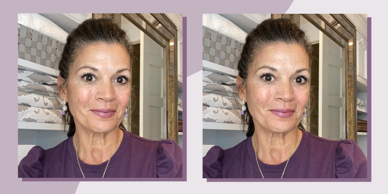 Two images of writer Dina Eastwood using the Peter Thomas Roth Eye Tightener cream and the after effects