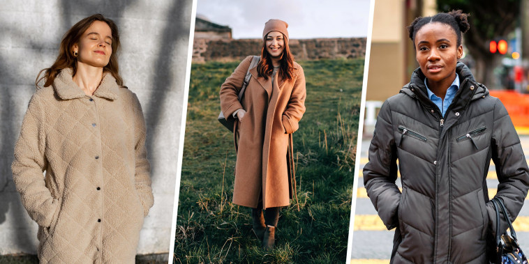 Three Woman outside, wearing different winter coats