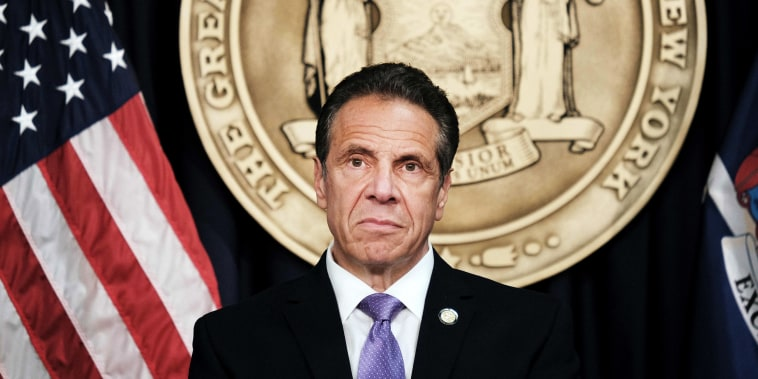 Gov. Andrew Cuomo holds a news conference in New York on May 5, 2021.