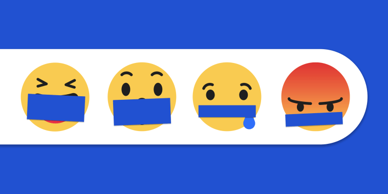 Photo illustration: Blue tape over the mouths of the Facebook reaction emojis.
