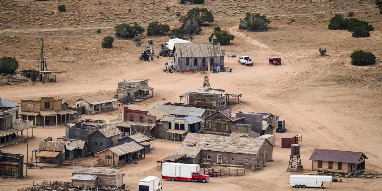 """Image: The set of \""""Rust\"""" in the Bonanza Creek Ranch in Santa Fe, N.M., on Oct. 23, 2021."""