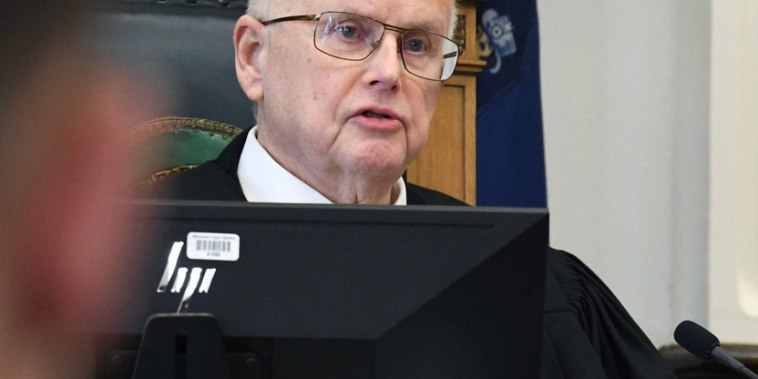 Image: Circuit Court Judge Bruce Schroeder presides over Kyle Rittenhouse's pre-trial hearing at the Kenosha County Courthouse in Kenosha, Wis., on Monday, Oct. 25, 2021.