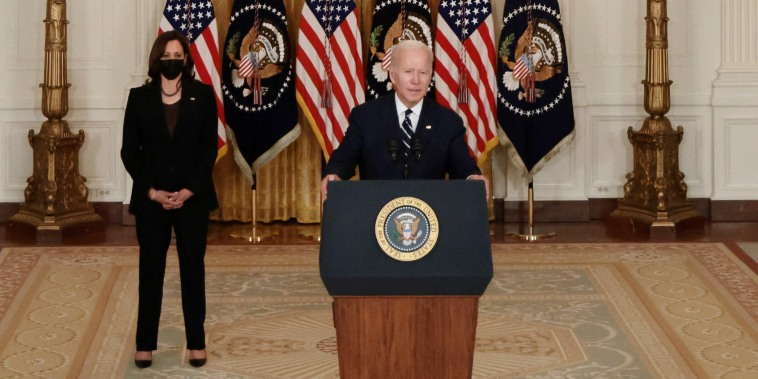 """Image: President Joe Biden delivers remarks on his proposed \""""Build Back Better\"""" social spending bill at the White House on Oct. 28, 2021 in Washington"""