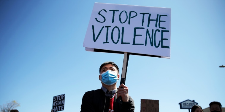 Ryan Lee demonstrates at the 'Stop Asian Hate March and Rally' in Koreatown on March 27, 2021, in Los Angeles.
