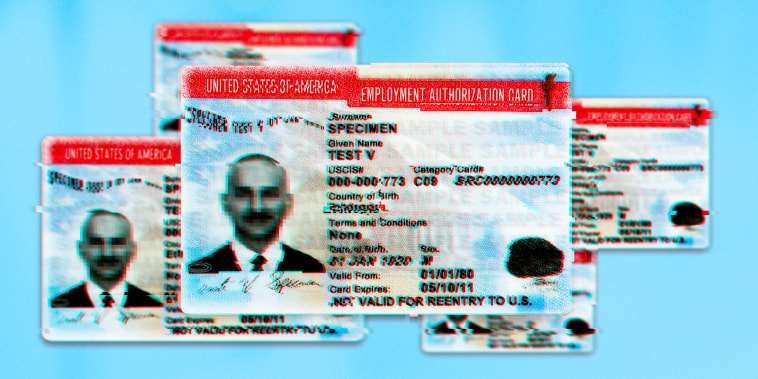 Image: Illustration of U.S. Employment Authorization Cards with glitches and pixelation.