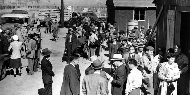 First arrivals at the Japanese evacuee community established in the owens valley at Manzanar, Calif., on March 23, 1942.