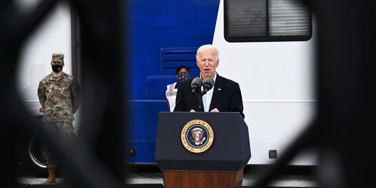 President Joe Biden speaks after visiting a FEMA Covid-19 vaccination facility at NRG Stadium in Houston, Texas on February 26, 2021.