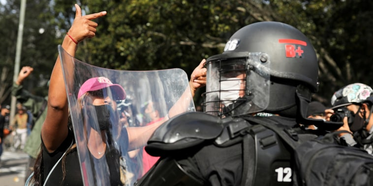 Image: Protest during a national strike, in Bogota