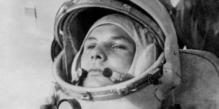 Image: Yuri Gagarin prepares to board Soviet Vostok I spaceship at Baikonur rockets launch pad shortly before its take-off to became the first man to travel in space, completing a round-the-Earth circuit,