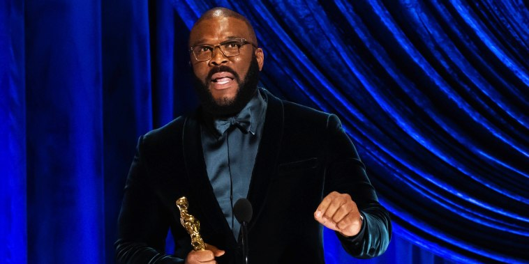Tyler Perry accepts the Gene Hersholt Humanitarian Award during The 93rd Oscars in Los Angeles on April 25, 2021.