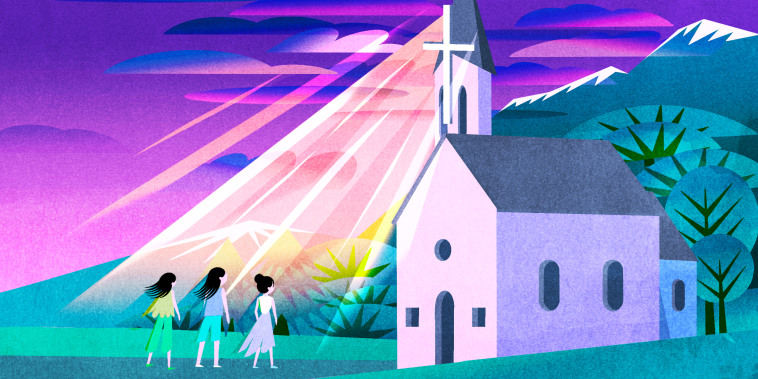 Illustration of three Asian American women standing in front of a Christian church.
