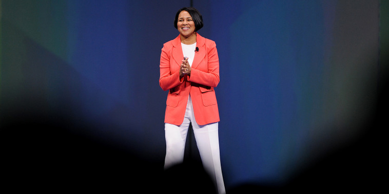 """Rosalind """"Roz"""" Brewer, president and chief executive officer of Sam's Club, speaks during the Wal-Mart Stores Inc. annual shareholders meeting in Fayetteville, Ark., on June 7, 2013."""
