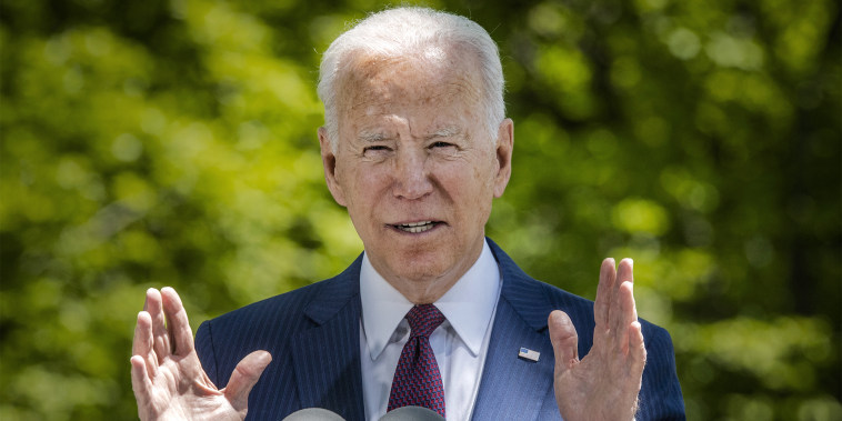 President Joe Biden delivers remarks on the front lawn of the White House on April 27, 2021.