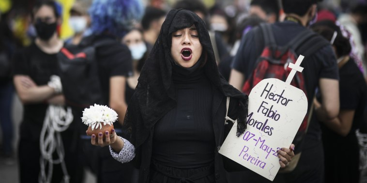 A demonstrator marches during an antigovernmental protest in Bogota, Colombia, on May 12, 2021..