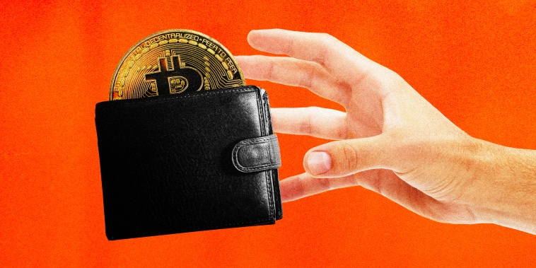 Illustration of a hand grabbing a wallet with a Bitcoin sticking out of it.