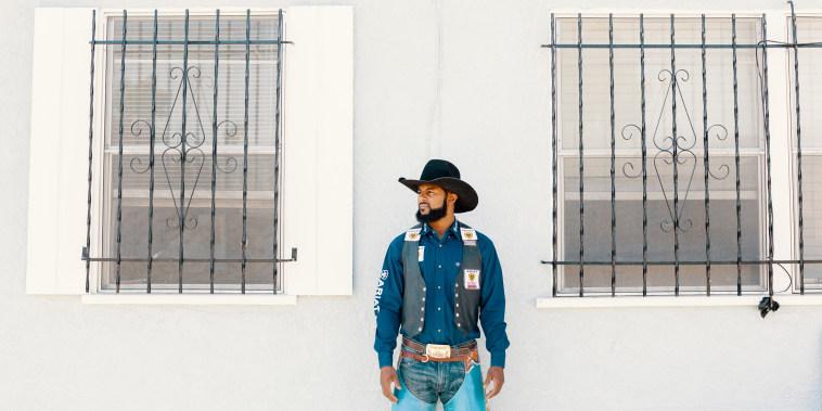 Image of Tre Hosley, a Black cowboy, in Compton.