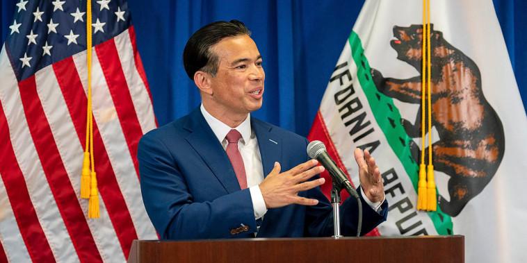 California Attorney General Rob Bonta speaks in Sacramento, Calif., on April 23, 2021.