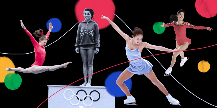 Photo illustration: Gymnast Amy Chow, diver Victoria Manalo Draves, figure skaters Michelle Kwan and Kristi Yamaguchi.