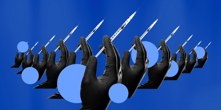 Illustration of hands holding a vaccine being covered by blue circles.