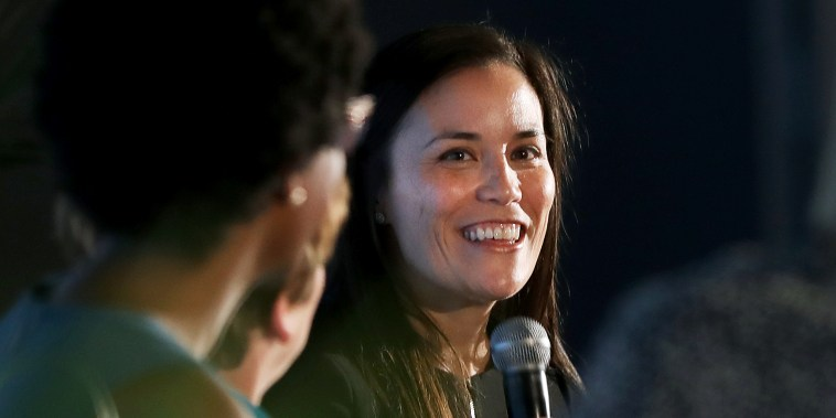 Gina Ortiz Jones (right), candidate for U.S. House (TX-23), speaks on a panel at an EMILY's List luncheon at the Fairmont Hotel on Friday, Aug. 17, 2018 in San Francisco, Calif.