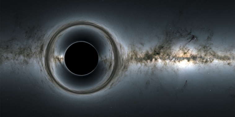 A simulated image of a black hole.