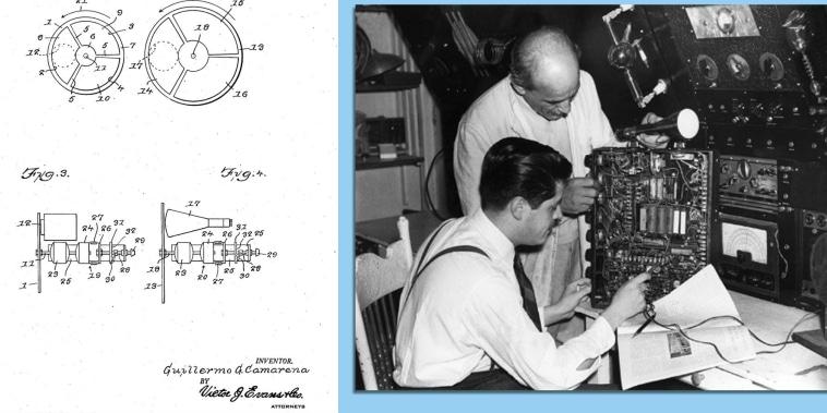 Imagen de una patente para una rueda que daba color a imágenes en blanco y negro en la era temprana de la TV