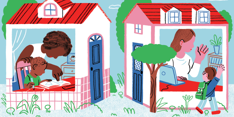 Illustration of a Black child and his mother working on schoolwork at home, while a white mother waves to her son on his way to school next door.