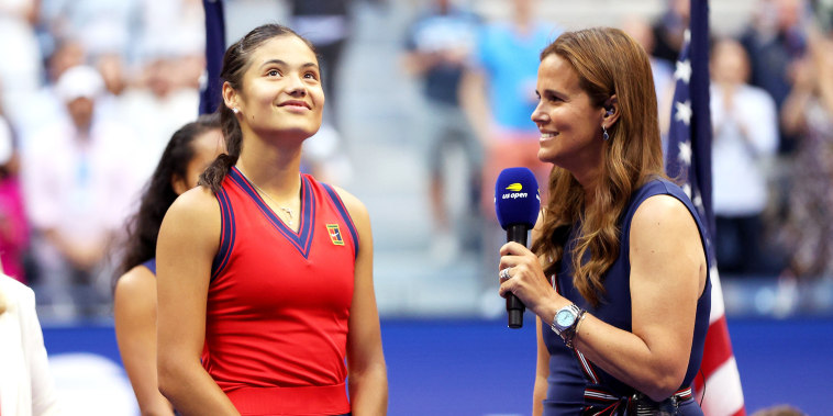 Britain's Emma Raducanu talks with Mary Joe Fernández during the trophy ceremony after defeating Leylah Fernandez at the U.S. Open on Sept. 11, 2021, in New York.