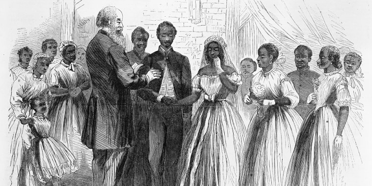 Marriage of a soldier at Vicksburg by Chaplain Warren of the Freedmen's Bureau from 1866.