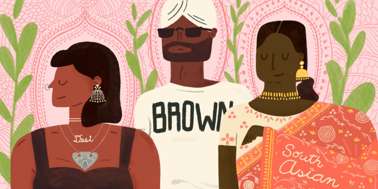 """Illustration shows a woman wearing a """"Desi"""" necklace, a man in a turban wearing a t-shirt that says """"BROWN"""" and a woman wearing a sari embroidered with """"South Asian."""""""