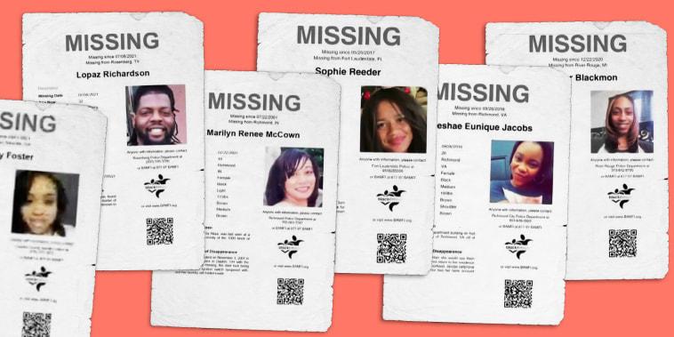 Illustration of flyers of missing Black people