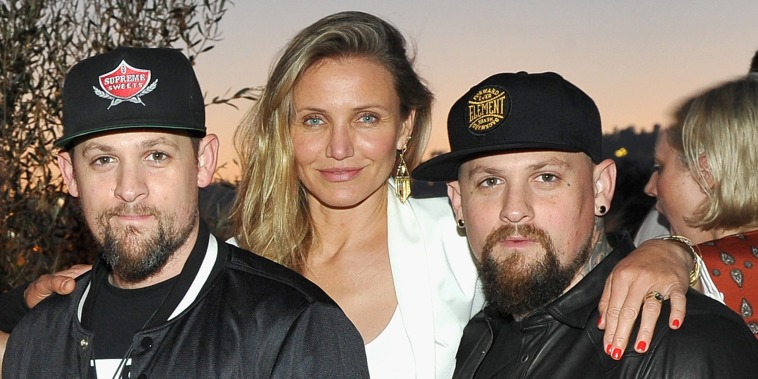 LOS ANGELES, CA - JUNE 02:  (L-R) Josh Madden, singer-songwriter Lionel Richie, fashion designer Nicole Richie, singer Joel Madden, actress Cameron Diaz and guitarist Benji Madden attend House of Harlow 1960 x REVOLVE on June 2, 2016 in Los Angeles, California.  (Photo by Donato Sardella/Getty Images for REVOLVE)